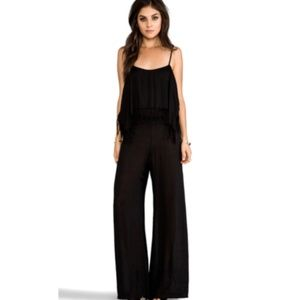 INDAH Womens Small Tenno Fringe Flounce Jumpsuit